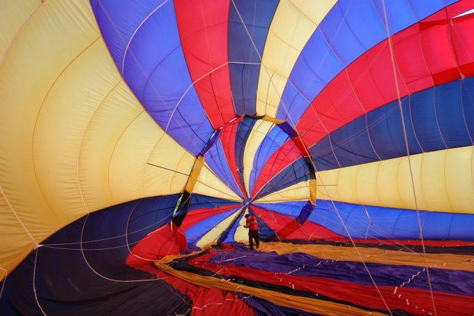 Préparation de la montgolfière – Gonflage